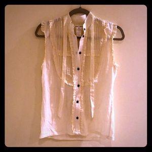 Like new Alice + Olivia sleeveless tuxedo blouse